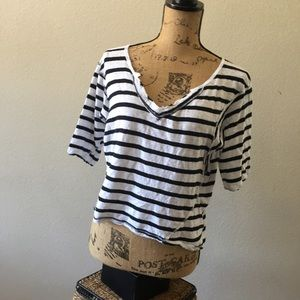 We The Free oversized linen blend striped tee XS